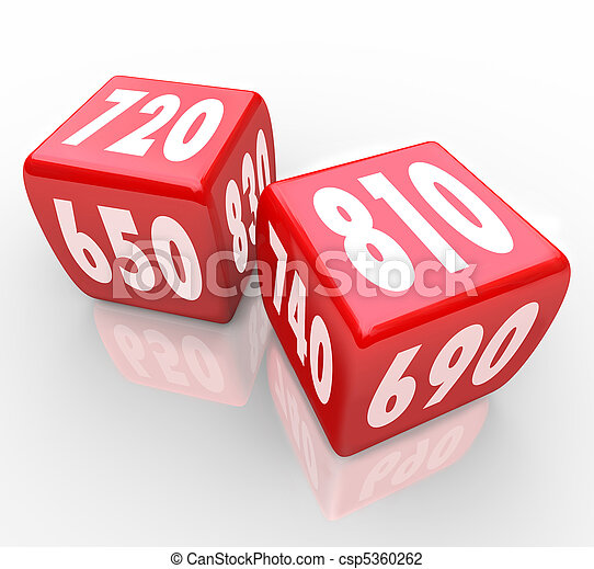 Credit Scores on Red Dice - csp5360262