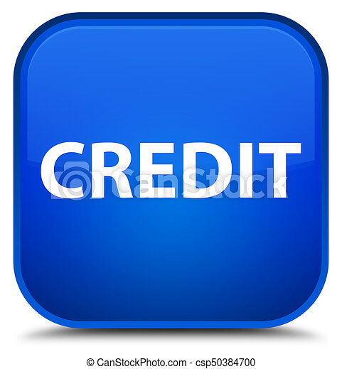 Credit special blue square button - csp50384700