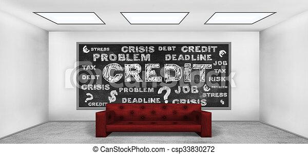Dibujando el concepto de crédito en la pizarra - csp33830272