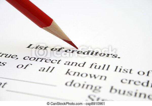 Creditor list - csp8910961