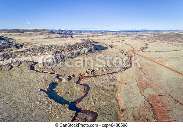 creek at Colorado foothills - aerial view - csp46436598