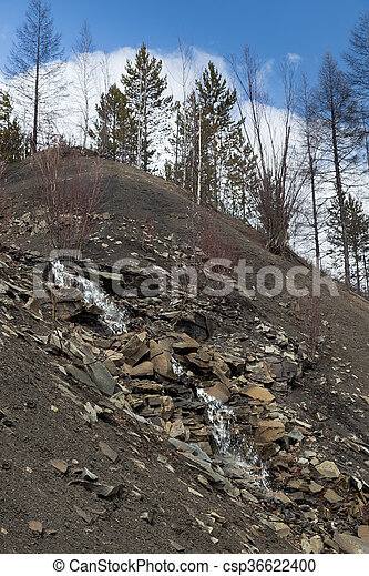 Creek flowing on the rocky hill - csp36622400