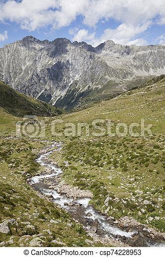 Creek in high mountain valley, Austrian/Italian Alps. - csp74228953
