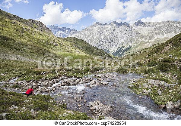 Creek in high mountain valley, Austrian/Italian Alps. - csp74228954