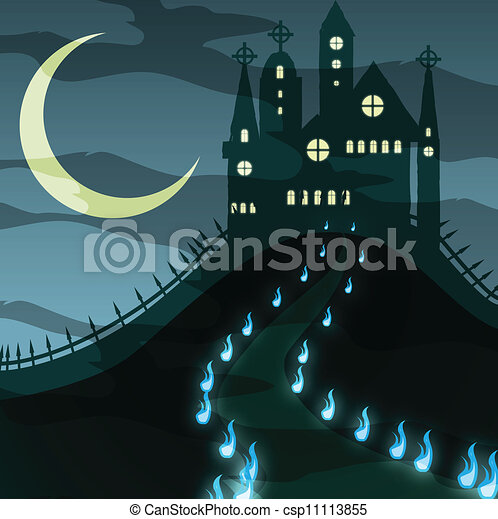 Creepy Halloween Castle Vector Vector Illustration Of