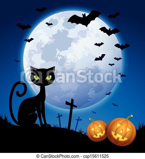 Creepy halloween scene with full moon, black cat, bats and ...