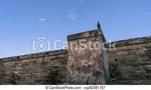 Creepy scene of a bird standing guard on a ancient looking wall. - csp62381167