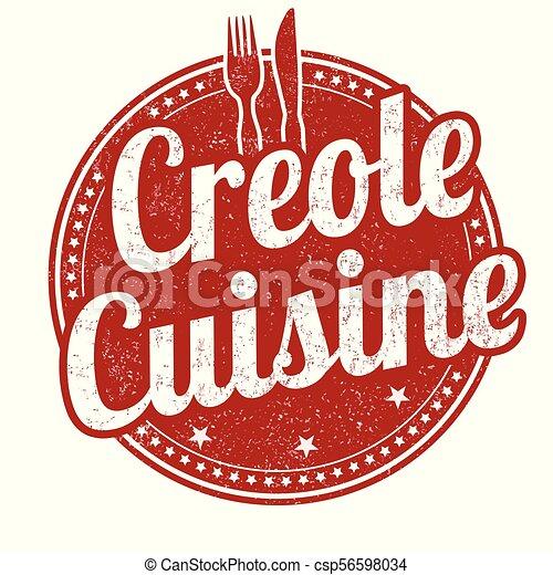 Creole cuisine grunge rubber stamp - csp56598034