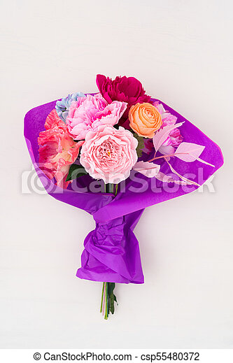 Crepe paper flower bouquet with peonies, sweet peas, poppies ...