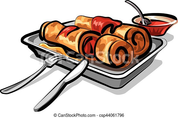 Illustration Of Sliced Crepes With Strawberry Jam On Plate