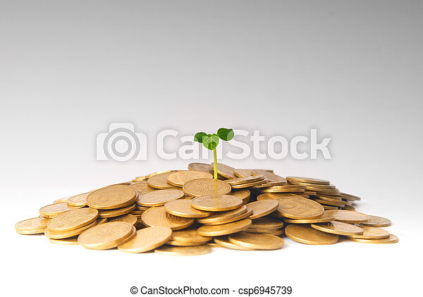 crescendo, planta, moedas, verde - csp6945739