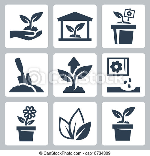 crescendo, planta, vetorial, jogo, ícones - csp18734309