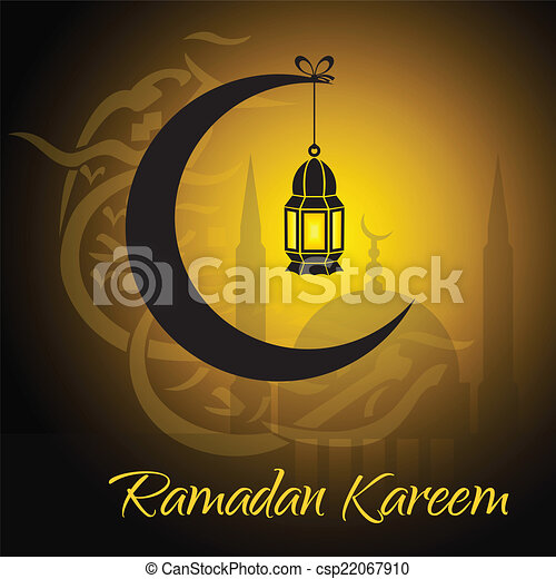Crescent and lantern to light the holy Muslim month of Ramadan Kareem community. - csp22067910