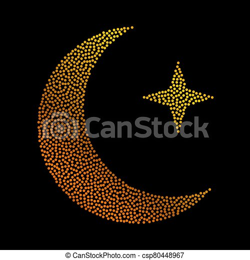 Crescent golden glitter moon on shiny black background for holy month of Muslim community Ramadan Kareem. Eid Mubarak glitter holiday design with glowing lights. Luxury gold crescent with confetti. - csp80448967