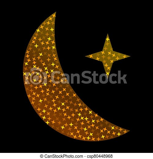 Crescent golden glitter moon on shiny black background for holy month of Muslim community Ramadan Kareem. Eid Mubarak glitter holiday design with glowing lights. Luxury gold crescent with confetti. - csp80448968
