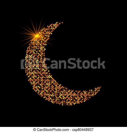 Crescent golden glitter moon on shiny black background for holy month of Muslim community Ramadan Kareem. Eid Mubarak glitter holiday design with glowing lights. Luxury gold crescent with confetti. - csp80448937