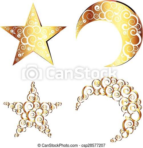 Crescent Moon And Star Symbols Decorative Crescent Moon And Star