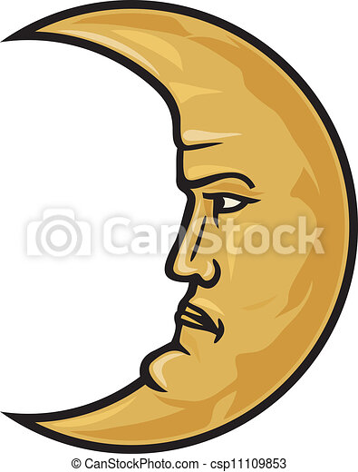 crescent moon face - csp11109853