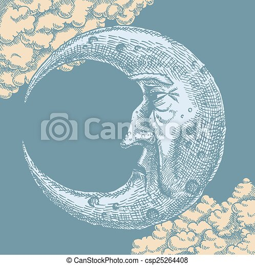 Crescent Moon Face Vintage Drawing