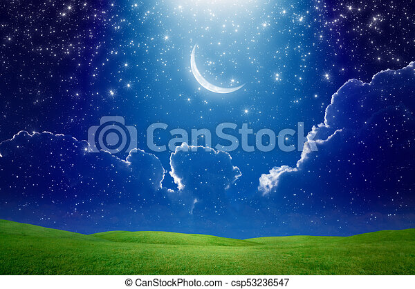 Crescent Moon In Dark Blue Starry Sky Bright Light Beam From Skies Amazing Wallpaper Crescent Moon In Dark Blue Starry Canstock