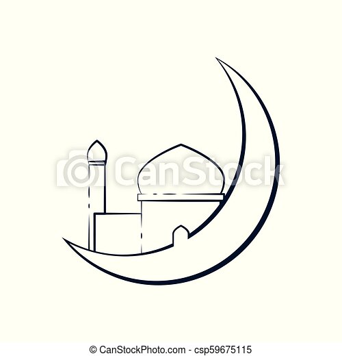 crescent moon outline mosque illustration design crescent moon outline mosque vector illustration graphic design https www canstockphoto com crescent moon outline mosque 59675115 html