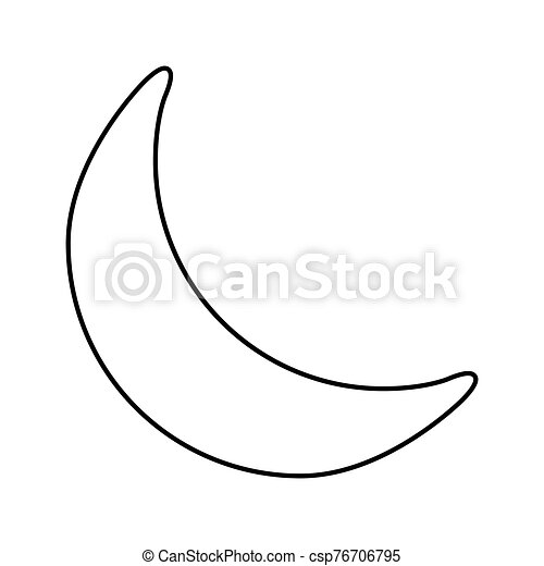 crescent moon outline vector moon for coloring book symbol illustration on white background flat design style https www canstockphoto com crescent moon outline vector moon for 76706795 html