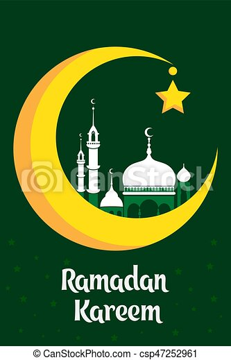 Great Moon Star Light Eid Al-Fitr Decorations - crescent-moon-with-white-mosque-for-clip-art-vector_csp47252961  Picture_455082 .jpg