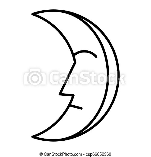 Get Outline Crescent Moon Vector
