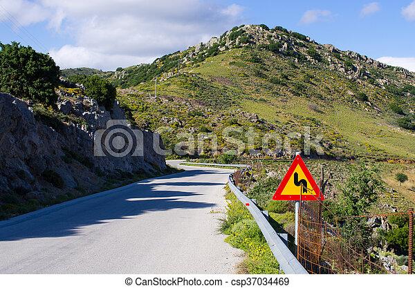 crete, 道, 丘, 島, ギリシャ - csp37034469