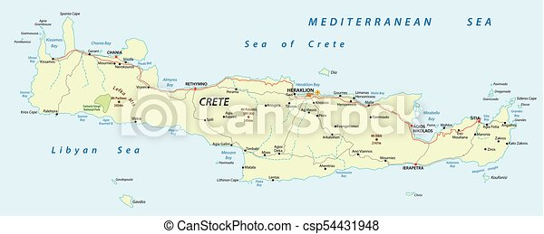 Island Of Crete Greece Map.Crete Vector Road Map Vector Street Map Of Greek Mediterranean