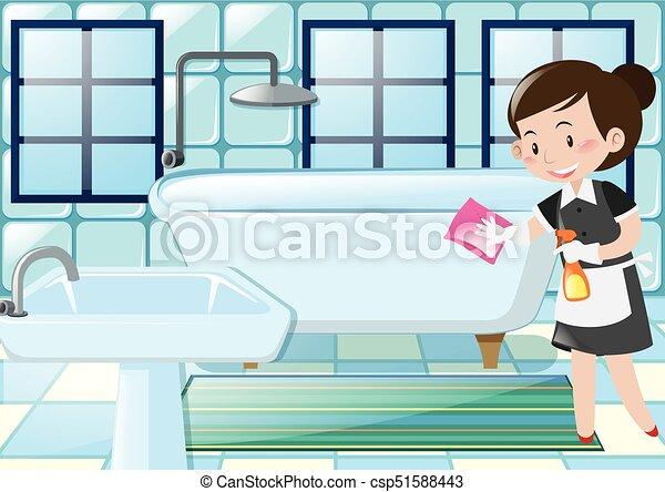 Criada Cuarto De Baño Bañera Limpieza Ilustración
