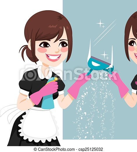 Una criada asiática limpiando espejos - csp25125032