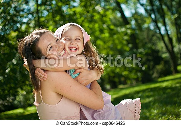 criança, -, felicidade, dela, mãe - csp8646426