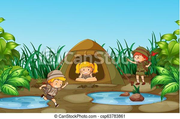 crianças, acampamento, natureza - csp63783861