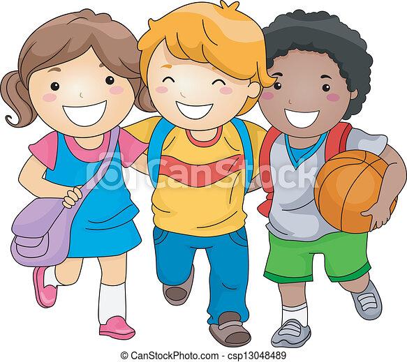 crianças, amigos, estudante - csp13048489