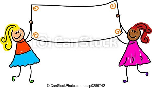 crianças, bandeira - csp0289742