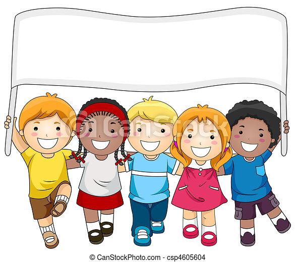 crianças, bandeira - csp4605604