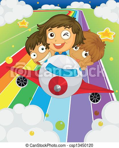 crianças brincalhõnas, três, avião - csp13450120