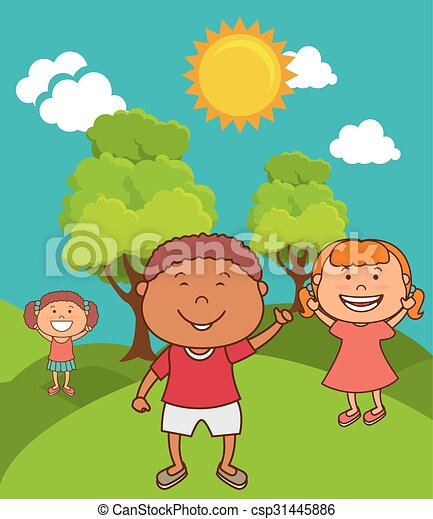 Criancas Coloridos Sobre Desenho Caricatura Paisagem Feliz