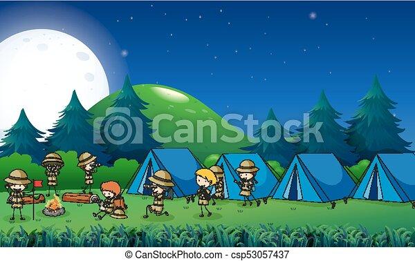 crianças, floresta, acampamento - csp53057437