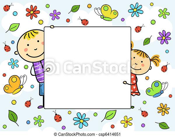 crianças, frame. - csp6414651