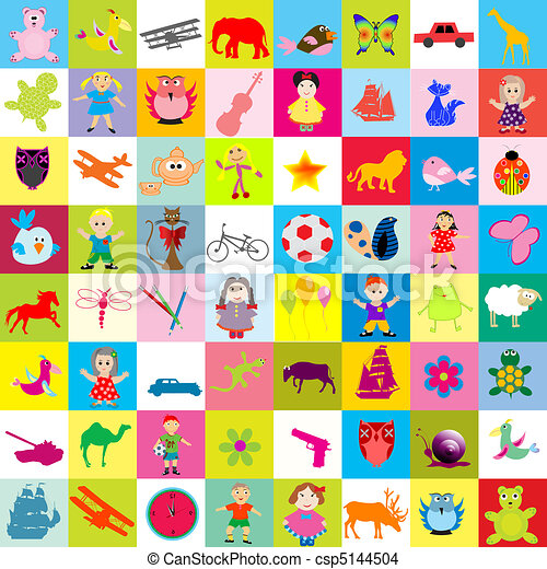 crianças, fundo, brinquedos - csp5144504