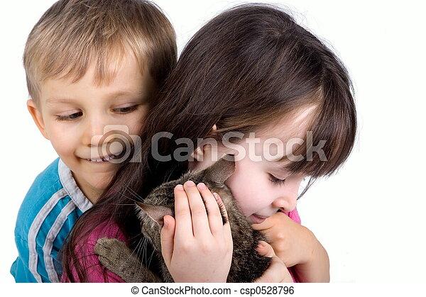 crianças, gato - csp0528796