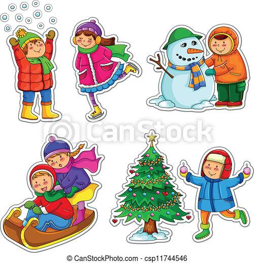 crianças, inverno - csp11744546