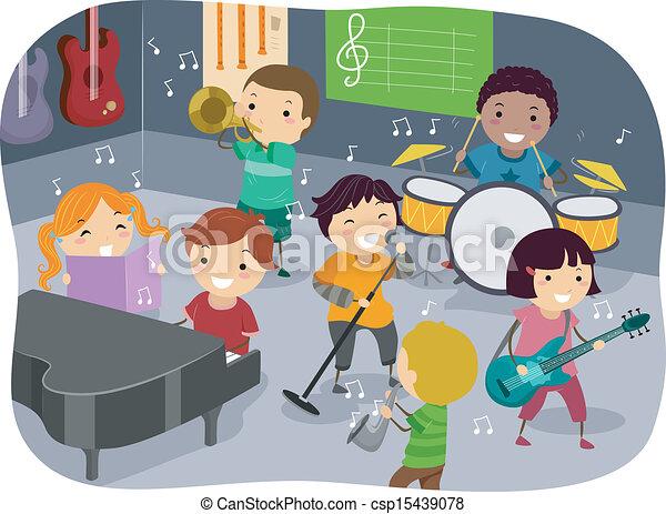 crianças, quarto música - csp15439078