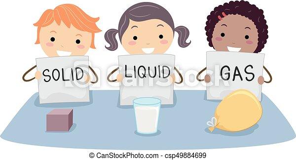 crianças, stickman, líquido, sólido, gás, física - csp49884699
