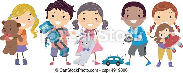 crianças, stickman, tocando, brinquedos - csp14919806