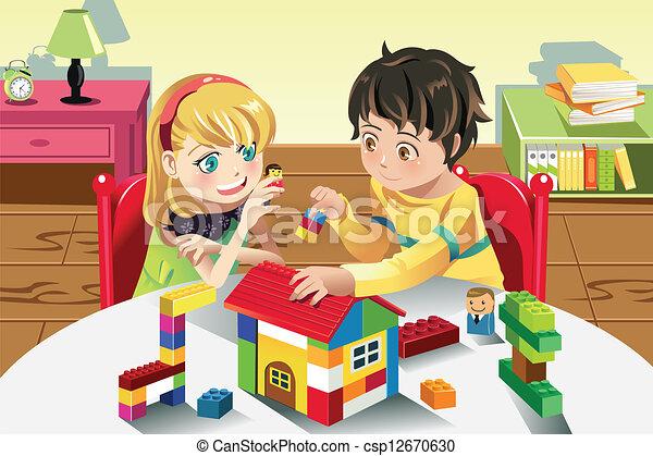 crianças, tocando, brinquedos - csp12670630