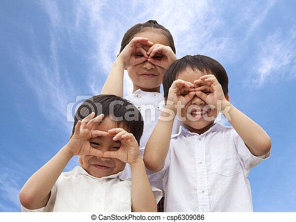 crianças, três, asiático - csp6309086