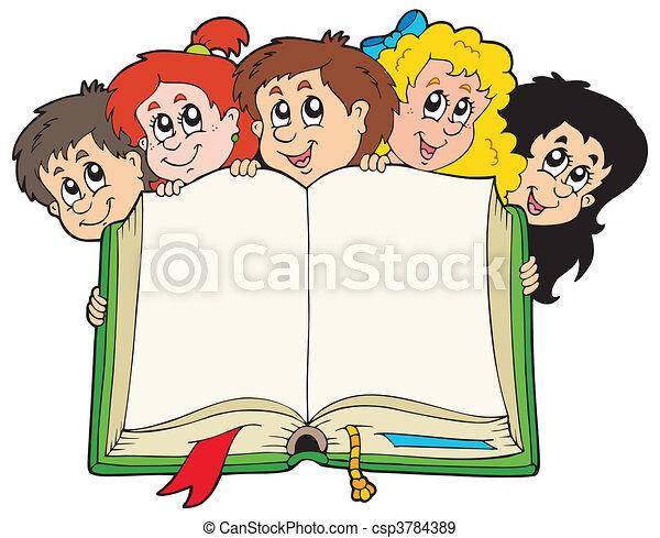 crianças, vário, livro, segurando - csp3784389